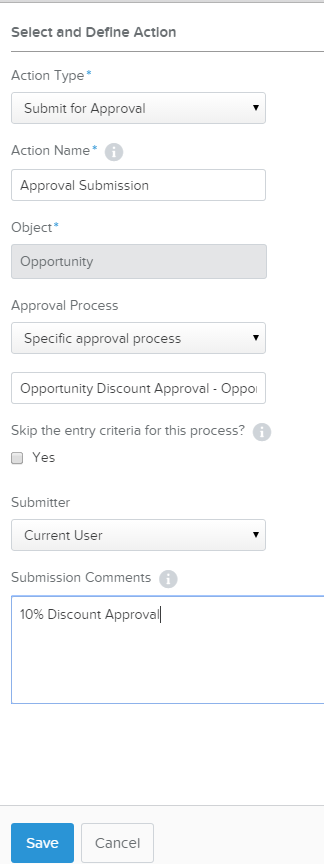 Process Builder Submit for Approval