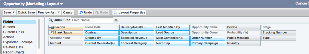 Selecting Multiple Fields PageLayout