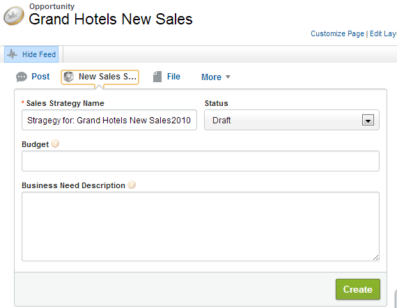 Action with Default Strategy Sales Name