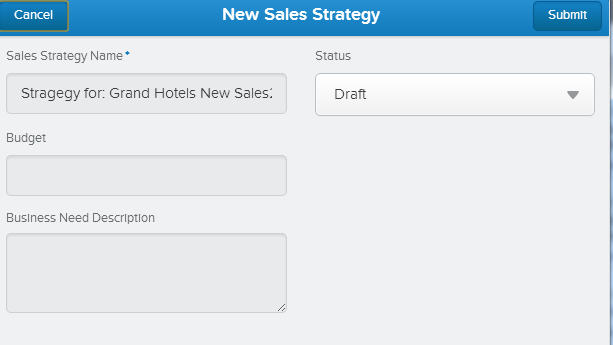 Using our new Sales Strategy action in Salesforce1