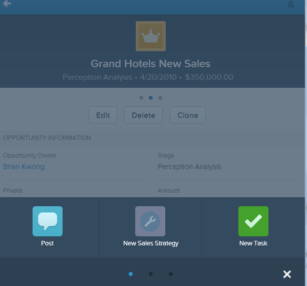 Sales Strategy Chatter Action available in Salesforce1