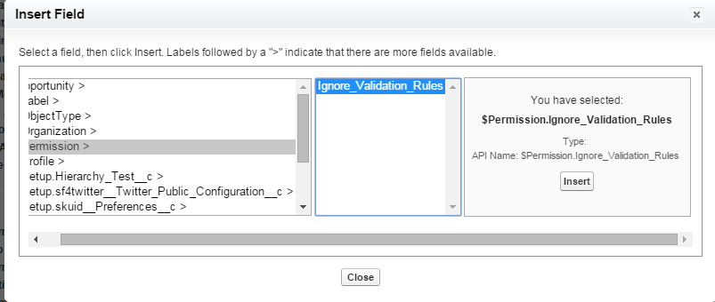 Adding Permission in Validation RUle