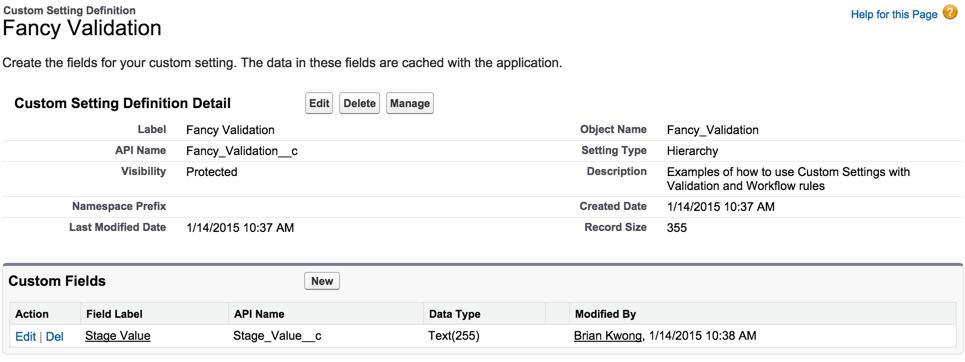 Custom Setting Metadata